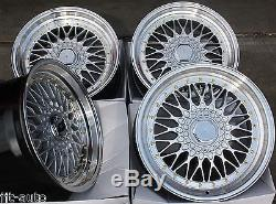 17 Rs Silver & Polished Style Deep Dish Alloy Wheels 4x100 Euro Style 17 Inch 2