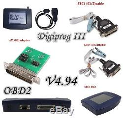 2017 Digiprog III Digiprog V4.94 3 Adapters, OBD2 ST01 ST04 cable Odometer Tool