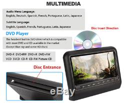 2PCS 9 inch Car DVD LCD Headrest USB SD HDMI Monitor Player Games Remote Control