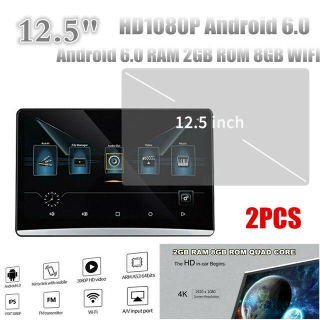 2pcs 12.5 Hd1080p Android 6.0 Ram 2gb Rom 8gb Wifi Headrest Rear Seat Monitors