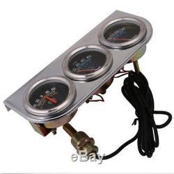 2 52mm Triple Gauge Kit 3in1 Volt Meter Water Temp Oil Pressure Car Auto Meter