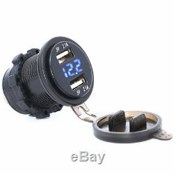 2 in1 Car Dual USB Charger and Voltmeter Blue LED Light 12V Car Motorcycle