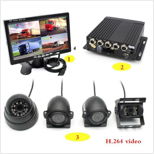 4ch Car Dvr Mdvr Video Recorder 7 Car Lcd Monitor + 4 X Night Vision Camera