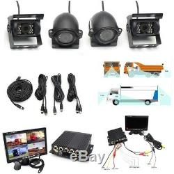 4CH H. 264 7LCD Monitor+4x Night Vision Camera Video Recorder For Truck Van Bus