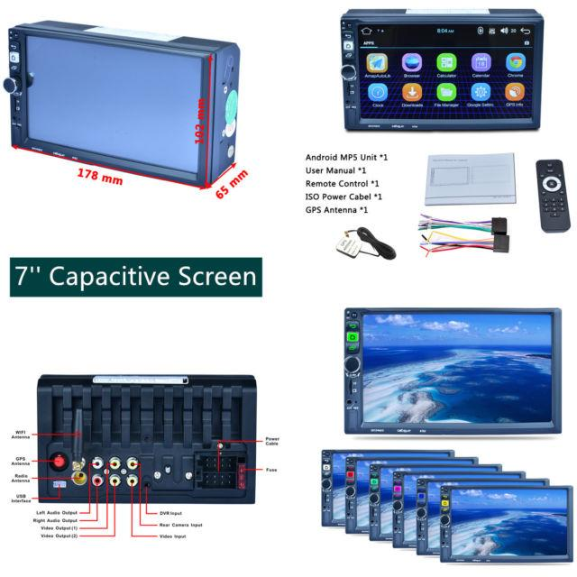 5.1.1 Android Stereo Mp5 Player 7'' Capacitive Touch Screen Bluetooth Gps Wifi