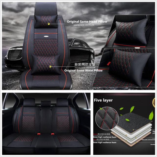 5-seat Deluxe Edition Car Vehicles Seats Cover Cushions Protector Pad Pu Leather
