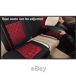 5-Seats Car Seat Cover PU Leather/Mesh Needlework Front&Rear Universal Black/Red