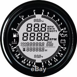 6 in 1 Multi-functional Car Gauge Meter GPS Speedometer Tachometer Oil Pressure