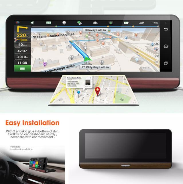 7.84 Hd 4g Wifi Car Dvr Gps Navigation Android 5.0 Dash Cam + Rear View Camera