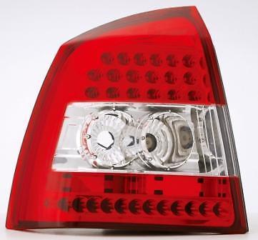 Back Rear Tail Lights For Vauxhall Astra G Hatch Red-clear Crystal- Led