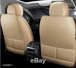 Beige Deluxe Edition Seat Cushion PU Leather Car Seat Covers For Four Seasons