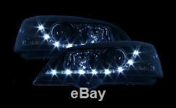 Black DRL Look Devil Eye Audi R8-Style Headlights Vauxhall Astra G Mk4 98-04