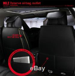 Car Full Set Seat Covers Luxury Leather Front Back Seat Covers Black & Red