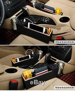 Car Seat Side Drop Catcher Gap Filler Organizer Caddy Storage PU Leather Black