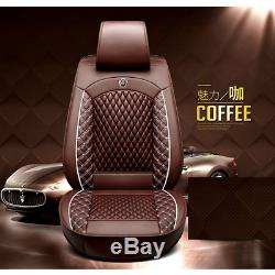 Coffee Leather 5-Sit Car Seat Cover Front+Rear Full Set Car Interior Accessories
