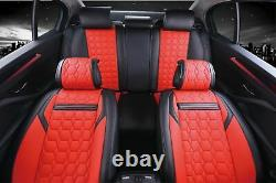 Full Set Red & Black Car Seat Covers Pu Leather Universal Dog Pet Protector