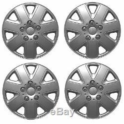 Hurricane 15 Car Wheel Trims Hub Caps Plastic Covers Silver Universal (4Pcs)