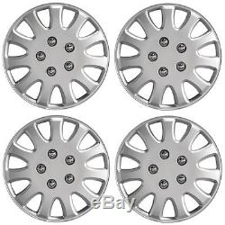 Ikon 14 Car Wheel Trims Hub Caps Plastic Covers Set of 4 Silver Universal