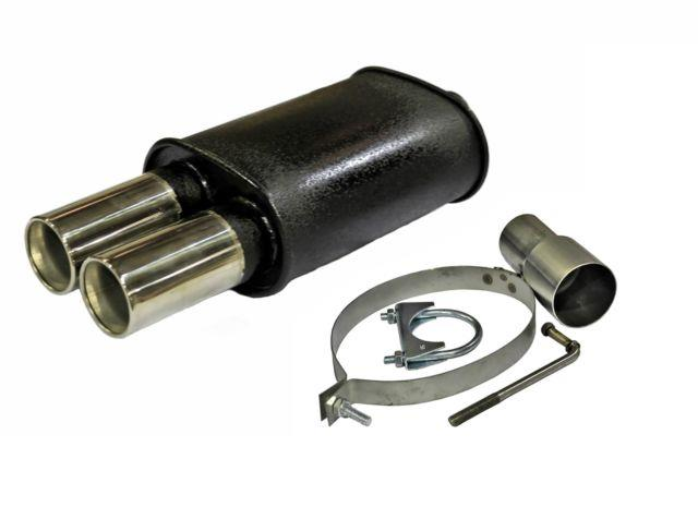 Stainless Steel Twin Tip Performance Sports Exhaust Muffler Back Box Mc 003