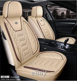 Standard Edition Beige PU Leather Car Seat Covers Cushions Full Set Seat Cover