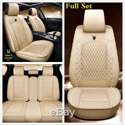 Universal Beige Leather Full Set 5D Surrounded Car Seat Cover Cushion Protectors