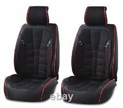 Universal Black Fabric & Leather Seat Covers Full Set Car Van Motorhome Bus Mpv