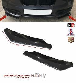 Universal Front Bumper Lip Extension Rocker Splitter Spoiler Gloss Black-vxl1