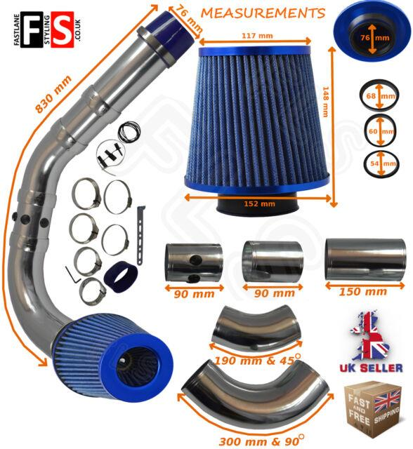Universal Performance Cold Air Feed Pipe Air Filter Kit Blue 2103bf-vxl2