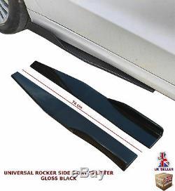 Universal Side Skirt Extension Blades Rocker Splitter 74cm Gloss Black-vxl1