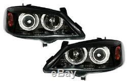 Vauxhall Astra G Mk4 1998-2004 Black Angel Eyes Halo Headlights Pair