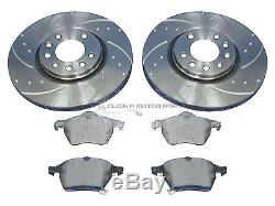 VAUXHALL ASTRA G MK4 GSi TURBO FRONT DIMPLED GROOVED BRAKE DISCS & MINTEX PADS