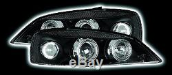 Vauxhall Astra G (98-04) Black Halo Angel Eye Projector Front Headlights Lights