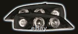 Vauxhall Astra G MK4 98 04 Black Angel Eye Halo Projector Headlights Pair