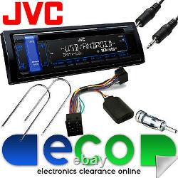 Vauxhall Astra G MK4 JVC Car Stereo CD MP3 USB AUX In & Steering Wheel Kit BLUE