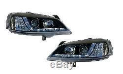Vauxhall Astra G Mk4 1998-2004 Black DRL Devil Eye R8 Head Lights Lamps Pair