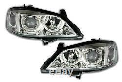 Vauxhall Astra G Mk4 1998-2004 Chrome Angel Eyes Headlights Pair
