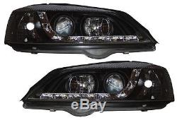 Vauxhall Astra G Mk4 98-04 BLACK R8 LED DRL headlights 1 pair