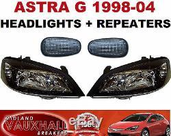 Vauxhall Astra G Mk4 Pair Black Headlights + Smoked Side Repeaters Headlamps Gsi