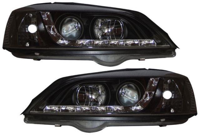 Vauxhall Astra G Mk4 Projector Headlights Black Devil Eye Drl Audi R8 Style