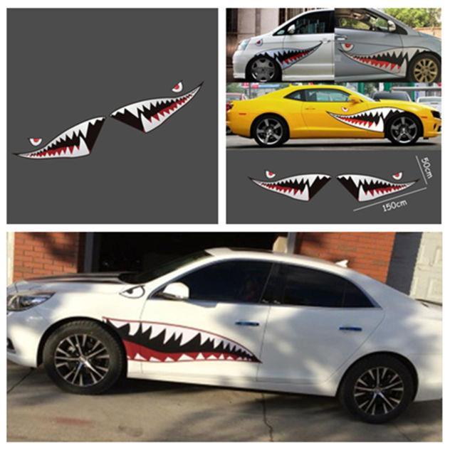 Waterproof Shark Mouth Tooth Teeth Graphics Vinyl Car Door Window Sticker Decal